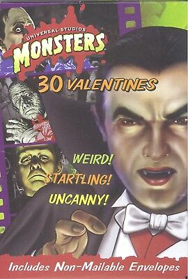 Vintage  1990s Universal Studios Monsters Childrens Valentines Day Cards..Lugosi