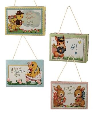 Bethany Lowe Retro Easter Candy Treat Box Set of 4 Bunny Chick Duck Decorations
