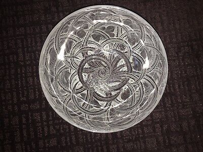 LALIQUE  Mid Century Modern Crystal Glass PINSONS Finch Bird Bowl France