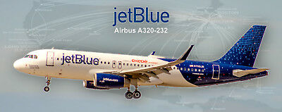 "JetBlue Airways ""Fly-Fi Binary"" Colors Airbus A320-232 Photo Magnet (PMT1654)"