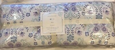Pottery Barn Kids Crib Bumper New Ivy Lavender Purple Blue Floral Butterflies