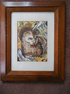 """Old Beautiful Owl Watercolor Painting By Patricia Holland 15 5/8"""" X 12 3/4"""""""