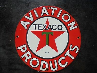 Vintage Texaco Aviation Products porcelain gas pump sign airplane pilot wing can
