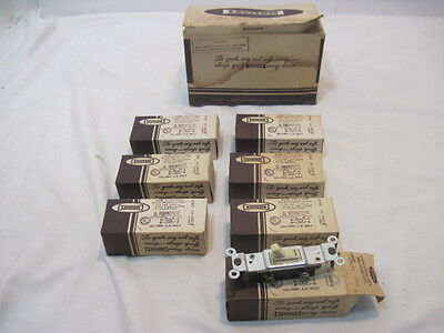 7 Vintage Leviton Quiet Single Pole Flush Toggle Switch #1451-I Ivory Color