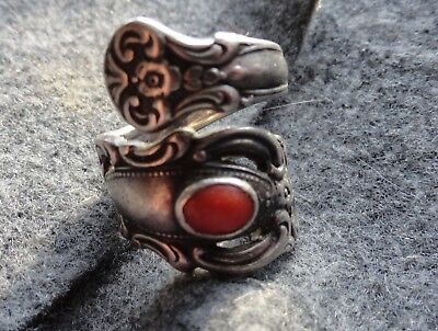 Antique Towle 1973 Sterling silver Spoon ring with Coral Stone No Reserve!