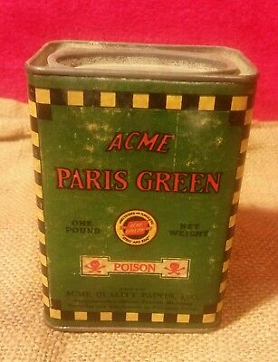 Vintage Antique Acme Paris Green Poison Can Arsenic One Pound Can Old Nice Shape