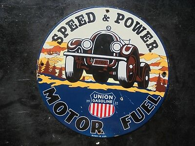 """Vintage Union Speed and Power Motor Fuel porcelain gas pump sign """"MADE IN USA"""""""