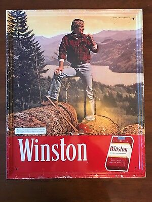 Vintage Winston Cigarettes Embossed Metal Sign From 1980 - Tobacco Ad 17 x 21