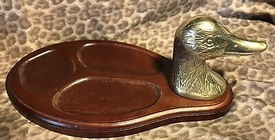 Vintage Brass Duck Head and Wood Valet, Tray Cheese Plate
