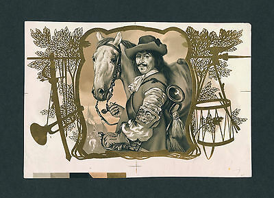 France Soldier & Horse on Original Antique Cigar Box Label Proof Vintage Art