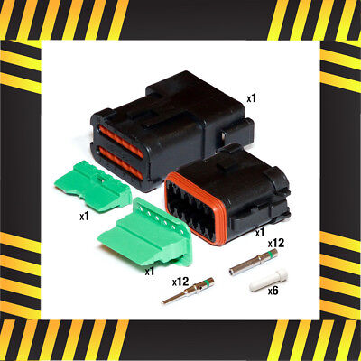 Deutsch DT 12 way Rugged Duty Connector Kit (Black/Caterpillar)