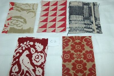 Antique Coverlet Pieces for Pillows Appliques Hearts Lot of 5  - C2