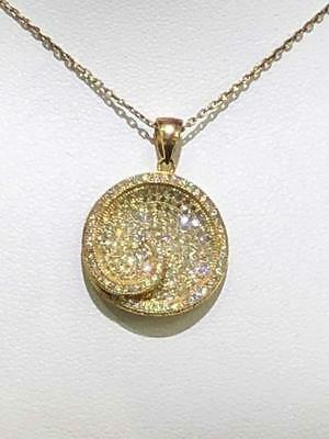 18k Yellow Gold Sterling Silver White Sapphire Micro Pave Swirl Halo Necklace