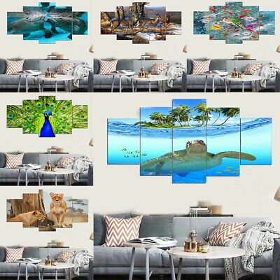 5Pcs Unframed PVC Print Painting Modern Art Animal Picture Home Wall Decor