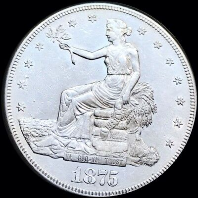 1875-S Trade Silver Dollar. Lustrous Early Date * UNCIRCULATED MS BU