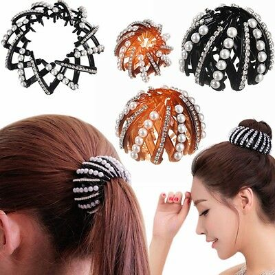 Fashion Expanding Bun Maker Hair Claw Women Crystal Ponytail Clamps Hairpins New