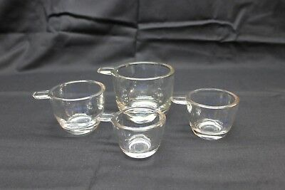 4 Stacking Nesting Measuring Cups - Clear w blue