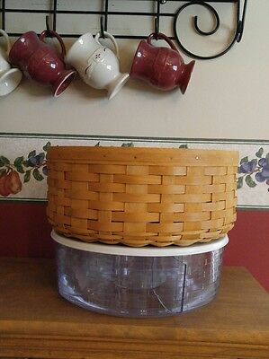 """Longaberger 13"""" Round Keeping Basket w/divided pocketed liner and protecter"""