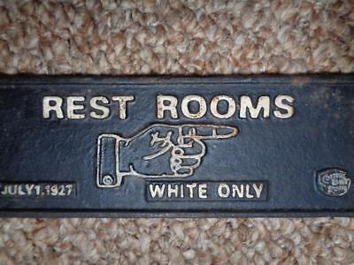 Black Americana Cast Iron Sign Rest Rooms White Only Cotton Belt Plaque