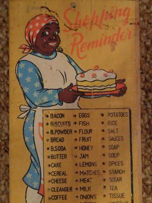 Black Americana Mammy Wooden Grocery List Peg Board Shopping Reminder
