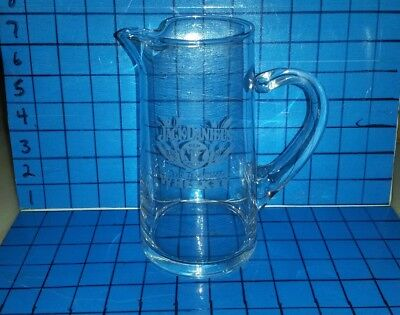 JACK DANIELS Vintage Etched Glass Pitcher Pyrex like Blown Glass Exc Cond