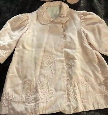 Antique Pink Silk (??) Embroidered  Baby Coat With A Matching Hat, 9-12 Months