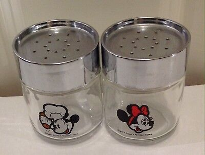 Vintage Chef Hat Mickey Mouse and Minnie Glass Salt Pepper Shakers Walt Disney