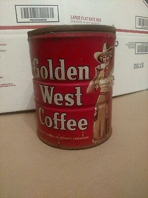 Golden West Vintage Cow Girl Red Background 2 lb.  Coffee Can