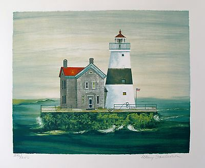 """MARY FAULCONER """"EXECUTION ROCK"""" Hand Signed Lithograph Lighthouse Art"""