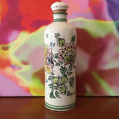 "Bols~Delft Polychroom // Pottery Corked Bottle // 8 3/4"" // Holland"