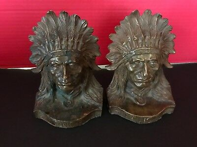 1914 Native American Indian Chief Sitting Bull Solid Bronze Bookends