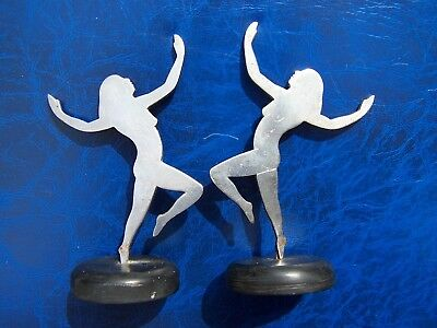 Pair Of Old Vintage Dancing Girl Figures In Vgc - Art Deco 1920/30's Era