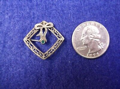 """Very Old Vtg Antique """"Delicate"""" Sterling Silver """"Bow"""" & Green Paste Stone Brooch"""
