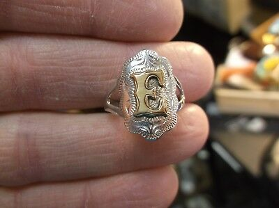 "Beautiful & Rare Vtg Antique? ""fleming"" Sterling Silver & Gold Initial ""e"" Ring"
