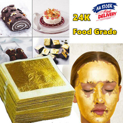 10x 24K Edible Pure Genuine Gold Foil Leaf Sheet Food Cake Face Mask SPA Gilding