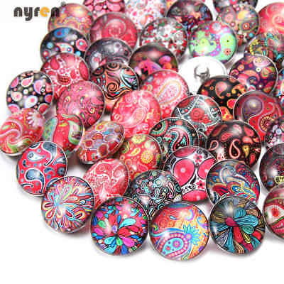 50pcs 18mm Snap Button Paisley Theme Multi Color Glass Charms For Snap Jewelry