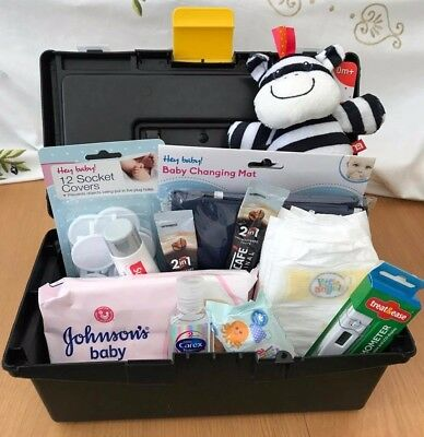 New Baby Essential Shower Gift Box Made For Dad, Papas, Toolbox, 0-3 months