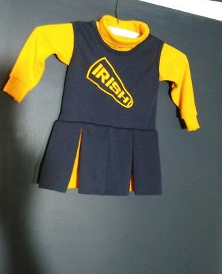 Little King Yellow & Blue Notre Dame Irish Cheerleader Uniform Dress Sz. 2T CUTE