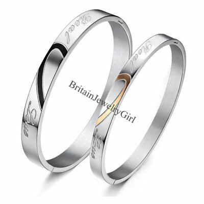 "Matching Heart Stainless Steel ""Real Love"" Promise Couple Bracelet Bangle Gift"
