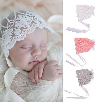 Newborn Baby Lace Floral Hat Cap Beanie Bonnet Hats Photography Photo Prop XR