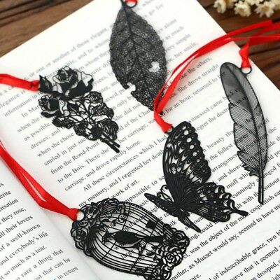 5X Black Leaf Butterfly Flower Retro Metal Bookmark Book Mark Stationery·Reading