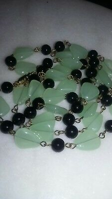 Vintage Art Deco Czech Soft Seafoam Green And Black Glass Bead Wire Necklace.