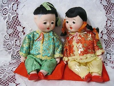 Vintage Antique Dolls, Japanese? Chinese? Small, Papier-Mache. New In Box!