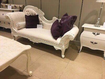 Large Chaise Longue Antique White Shabby Chic French Ornate Day Bed Sofa Lounge