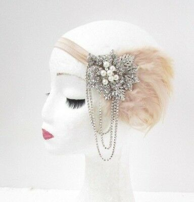 Champagne Beige Silver Feather Headpiece 1920s Headband Flapper Fascinator 5086