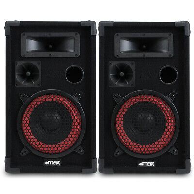 """Pair of Max 8"""" Passive Speakers 500W Red Cone 8"""" Inch Woofers"""