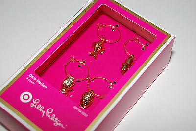 NIB Lilly Pulitzer TARGET Set of 4 Gold Wine Charms Drink Markers Elephant Fish