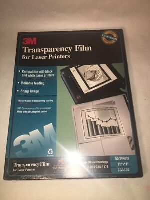 "3M Transparency Film CG3300 for Laser Printers 50 Sheets Sealed 8 1/2 X 11"" NIP"