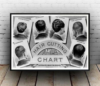 Hair cutting chart, Vintage Barber shop advert Reproduction poster, Wall art.
