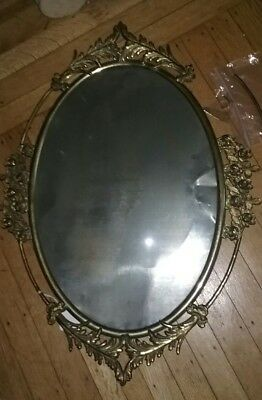 Antique convex glass and brass picture frame, Victorian style, very ornate.